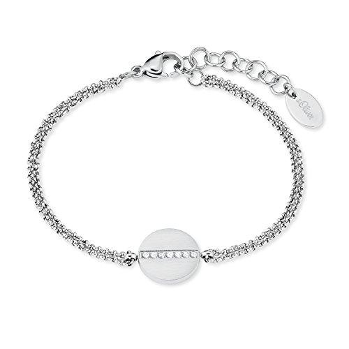 s.Oliver Damen-Armkette Edelstahl Swarovski Kristalle matt/glänzend längenverstellbar 17+3cm