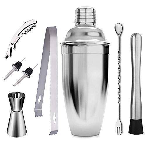 Veool Batidor de coctéles Kit de barra de piezas Herramientas profesionales de conjunto de mixología de barras 750 ML Cocktail Shaker, Two Liquor Pourers, Jigge, Double lever...
