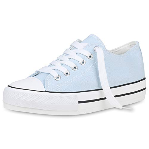 SCARPE VITA Damen Plateau Sneaker Basic Canvas Stoff Schuhe Schnürer Freizeit Turnschuhe Profilsohle Plateauschuhe 191444 Hellblau 40