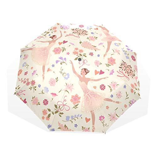 Paraguas para el Sol Bailarinas con Rosa Gloriosa Flor Rosa 3 Paraguas de Arte Plegables (impresión Exterior Bloque Sun Umbrella Paraguas para Hombres Compact Sun Umbrella Cute