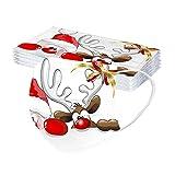 GJKK 20 Stück Einmal Erwachsene Weihnachten Mundschutz mit Motiv Weihnachten Bunt MNS Mund und Nasenschutz Weihnachten Atmungsaktiv Mund Bandana Halstuch Schals