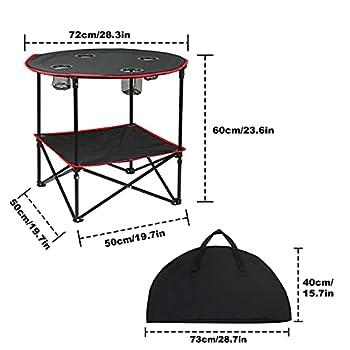 Ledeak Table de Camping, Portable Table de Pique-Nique Pliante Légère avec Sac de Transport Facile à Nettoy, Parfait pour l'extérieur Barbecue Pêche Randonnée Voyage Plage Cuisine