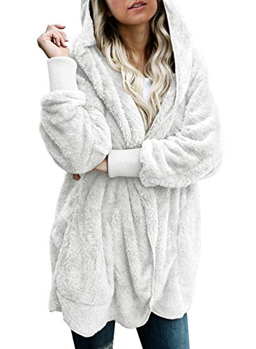Dokotoo Womens Casual Cozy Warm Ladies Fuzzy Winter Fall Open Front Long Sleeve Fleece Pocket Hooded Cardigan Sweater Jackets Coats Outerwear White Small
