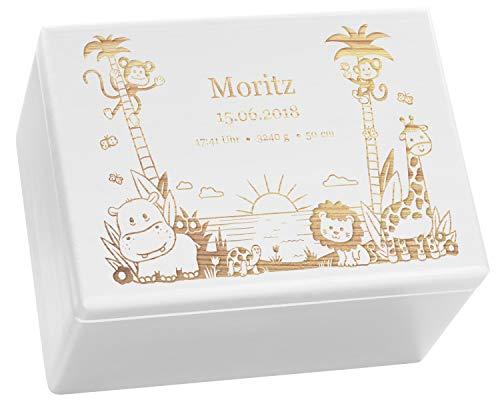 LAUBLUST Holzkiste mit Gravur - Personalisiert mit ❤️ GEBURTSDATEN ❤️ - Weiß, Größe XL - Dschungel Motiv - Erinnerungskiste als Geschenk zur Geburt