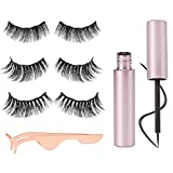 Boobeen Dual Magnetic Eyeliner and Lash Kit - with Eyelash Extension glue and Eyelashes Applicator Tool - No Glue 3D Reusable Handmade Silk False Lashes 3 Pairs - Easy Use Natural Soft and Comfortable