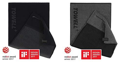 STRYVE Towell + | Sporthandtuch mit Tasche und Magnetclip, Bekannt aus Die Höhle der Löwen (2er Set Schwarz/Grau)