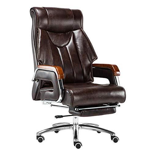 WYYH - Silla de oficina con reposabrazos ergonómico, tumbona ajustable con reposapiés, silla gaming PC puede girar 360 °, mueble silla de estudio, silla de escritorio auténtica piel marrón