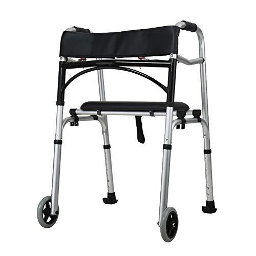 ZISITA Gehhilfe Progressive Mobility Aid Walker Mit 2 Rädern, Rollator, Selbstanpassenden Treppen Assist, Go Up & Down Treppen, Folding & Adjustable,