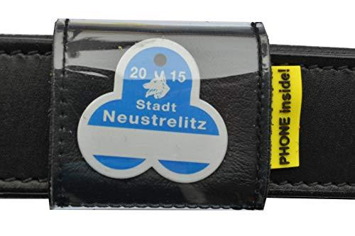 josi.li Halsbandtasche, Nappaleder schadstofffrei,in 3 Farben lieferbar, mit 2 Innenfächern für bis zu 4 Hundemarken, Adresse, Telefonnummer, 50x50mm (schwarz)