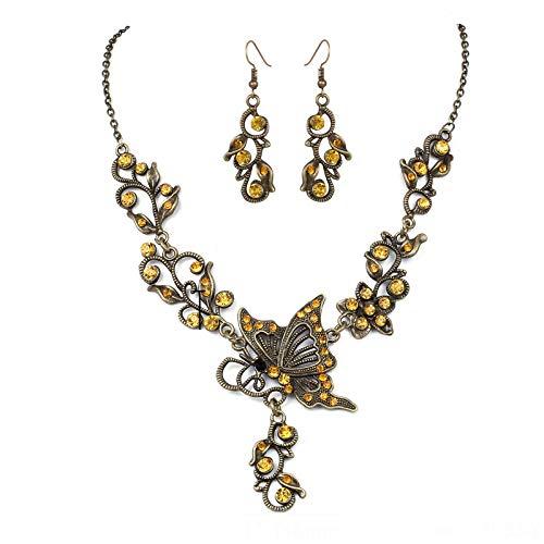 Beuya Conjunto De Joyas con Collar Aretes De Oido y Joyas De Rhinestones Pendientes de Collar de Mujer Conjunto de Gargantilla y Aretes (Amarillo)