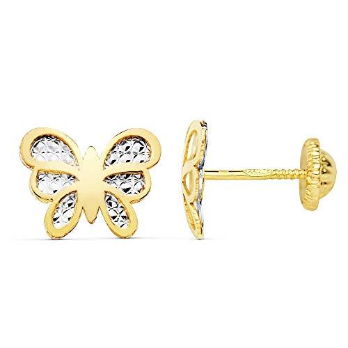Pendientes oro bicolor 18k mariposa 10mm. centro tallado [AC0933]