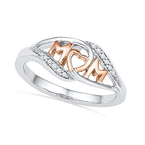 Kissherely Love Mom Design Ring Zircon Mum Letter Ring with Heart Jewelry Gift for Mother Women Party Rings (Size 10)
