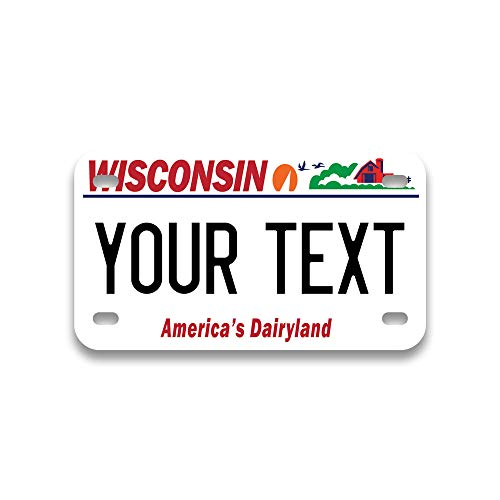 Personalized Mini License Plate | Choose from All 50 States | Bike License Plate | 6 x 3 inch | Custom License Plate for Kids Toy Car and Wagons | Golf Cart Accessories | ATV & Motorcycle (Wisconsin)