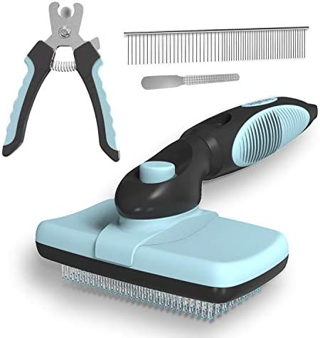 Dogs Cats Self Cleaning Slicker Brush Nail Clipper and Trimmer Stainless Steel Comb Professional product image