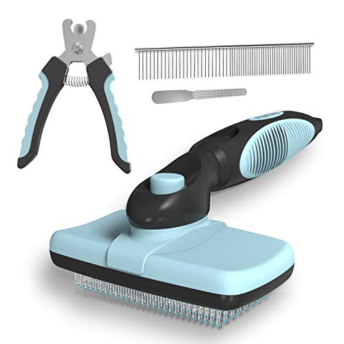 Dogs Cats Self-Cleaning Slicker Brush Nail Clipper and Trimmer Stainless Steel Comb, Professional Pet Shedding Grooming Tool Set, Short or Long Hair Remover Kit for all Hair Types