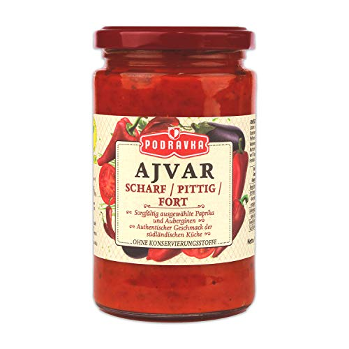 Podravka Ajvar Scharf, Pikante Gemüse-Würzpaste für den scharfen Geschmack, (1 x 350 g)