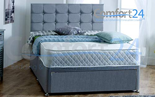 ComfoRest, Bedding & Upholstery Innovation Leader Comfort24 Ltd Grey Fabric Divan Bed With Mattress, Jumbo Drawer And 24' Cube Design Headboard (4FT6 (Double))