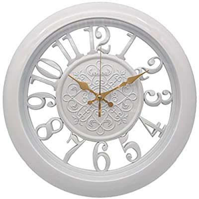 Adalene Wall Clocks Battery Operated Non Ticking Kitchen Wall Clock Decor - 13 Inch Large White Wall Clock Silent - Vintage Rustic Wall Clocks for Living Room Decor, Analog Decorative Wall Clock