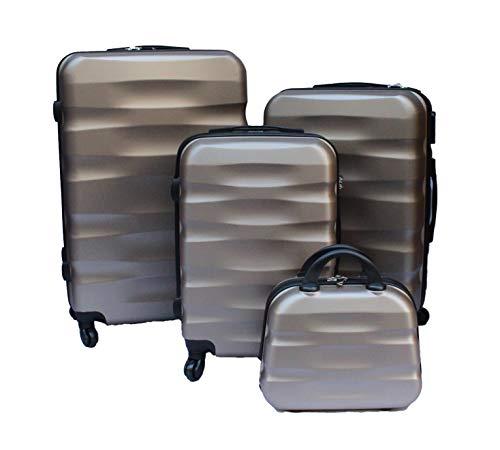 R.Leone Valigia da 1 pezzo Fino a Set 4 Trolley Rigido grande, medio, bagaglio a mano e beauty case 4 ruote in ABS 2050 (Oro, Set 4 XS+S+M+L)