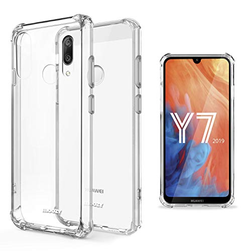 Moozy Funda Silicona Antigolpes para Huawei Y7 2019, Huawei Y7 Prime 2019 - Transparente Crystal Clear TPU Case Cover Flexible
