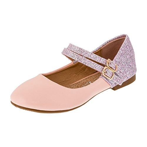 Festliche Mädchen Glitzer Ballerinas Schuhe mit Echt Leder Innensohle M408rs Rosa 32