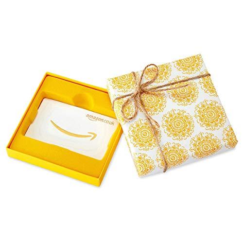 Amazon.co.uk Gift Card in a Yellow Swirl Box