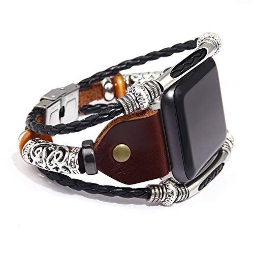 Reloj inteligente de cuero con hebilla de acero inoxidable compatible con Apple Watch, pulsera hecha a mano, serie 5/4/3/2/1, para mujeres y hombres (marrón, 42 mm/44 mm)