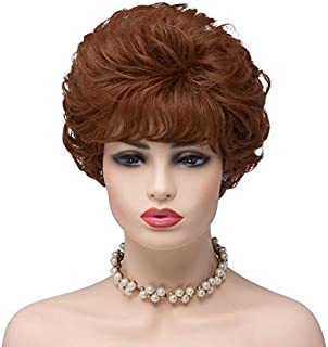 BESTUNG Ladies Auburn Red Short Kinky Curl Synthetic Full Hair Wigs Wavy Fluffy Cosplay Costume Wig for Women (30/350#-Auburn Red)