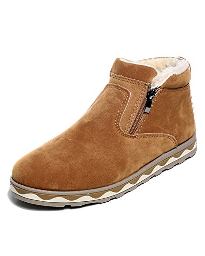 Minetom Herren Warm Plüsch Kurzschaft Britischer Stil Schneeschuhe Winterstiefel Gummistiefel Reißverschluss Chelsea Boots Flache Schuhe Gelb EU 42