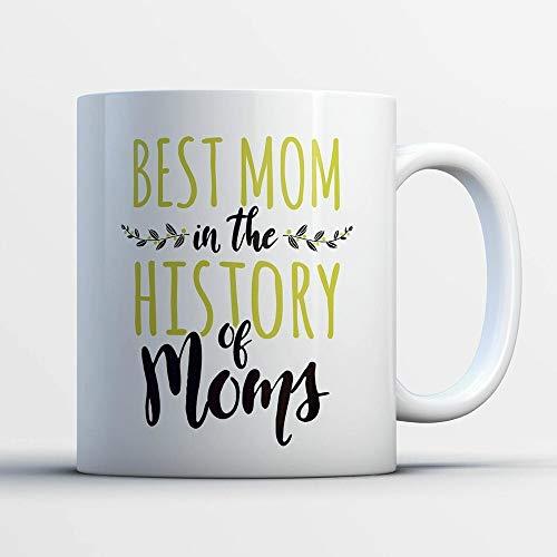 Mok Beste Moeder in de Geschiedenis van Moeder Mok Grappige Kantoor Bekers Mokken Thee Melk Cup Wijn Bier Vriend Geschenken Nieuwigheid Bekers Kleur: wit