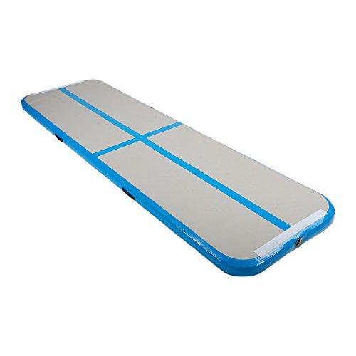 Z ZELUS Tapis de Gymnastique Gonflable, Gymnastique Tapis de Tumbling, pour Yoga Taekwondo Entrainement, 300 x 100 x 10 cm (Bleu sans Pompe)