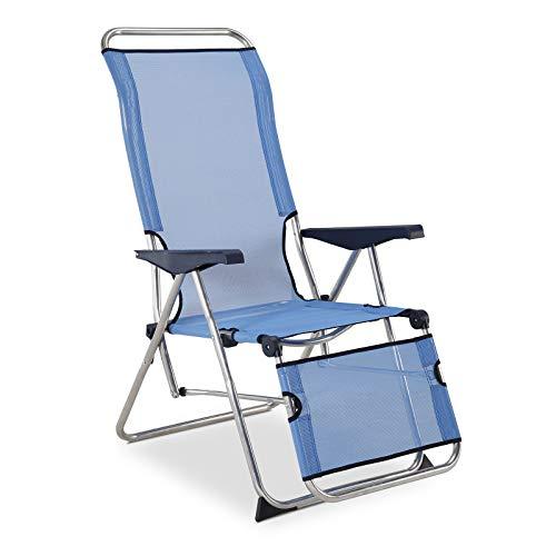 Solenny 50001072735205 Relaxsessel für den Garten, 5 Positionen, mit anatomischer Rückenlehne, Blau
