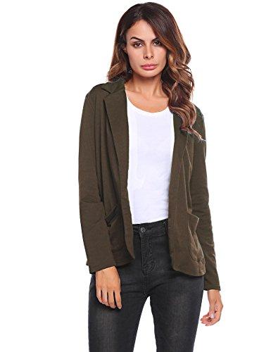 Zeagoo Womens Casual Work Office Blazer Open Front Long Sleeve Cardigan Jacket, Dark brown, Large