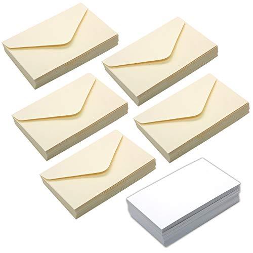 TSUKURIRO 名刺 サイズ クラフト紙 封筒 カード 各100枚 セット プレゼント 贈り物 イベント (ベージュ)