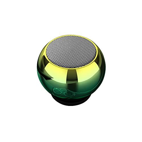 Heemol Mini Altavoz BT portátil, altavoz estéreo de bolsillo inalámbrico con luz LED (amarillo-verde)