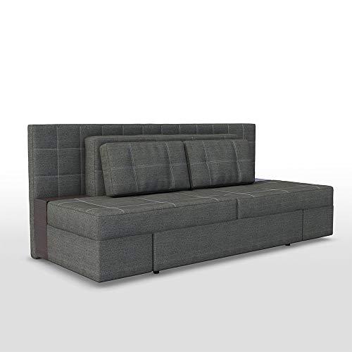 VitaliSpa Innovatives Schlafsofa 230 x 105 cm Grau - Sofa mit Schlaffunktion Schlafcouch Doppelbett Couch Taschenfederkern Boxspringbett