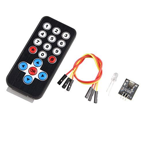 haljia Kit de control remoto por infrarrojos módulo de receptor de infrarrojos IR remoto controlador para Arduino