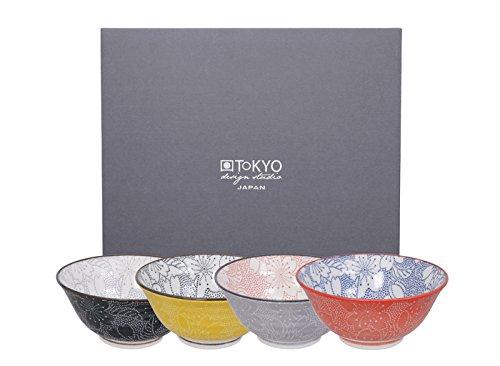 TOKYO design studio, Sakura Lot de bols ronds en porcelaine 4 x 14,8 cm dans une boîte cadeau décorative