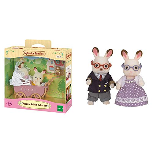 SYLVANIAN FAMILIES Chocolate Rabbit Grandparents Mini muñecas y Accesorios, (Epoch para Imaginar 5190) + Sylvanian Families-8711915022064 Set Gemelos Conejos Chocolate con Cochecito