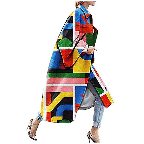 Janly Clearance Sale Abrigo de mujer, moda para mujer, chaqueta de bolsillo impresa, chaqueta de abrigo, abrigo largo, geometría impresa para Navidad (amarillo-S)