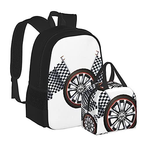 Ruota da corsa con bandiere zaino per scuola media universitaria studente bookbag adolescenti computer portatile borsa casual