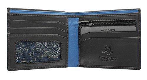 Portafoglio Bi-Fold di pelle da uomo Visconti Parma in due tonalita. Collezione PABLO Blocco RFID PM101 Nero/Blu