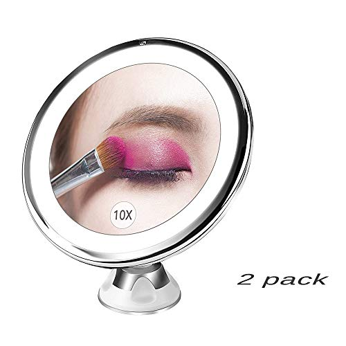 Memory 10 Aumentos Maquillaje Natural Espejo con Luz Portable Llevada Baño con...