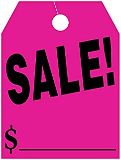 EZ Line Car Mirror Hang Tags Huge Fluorescent Sale Price Tags (Pink)