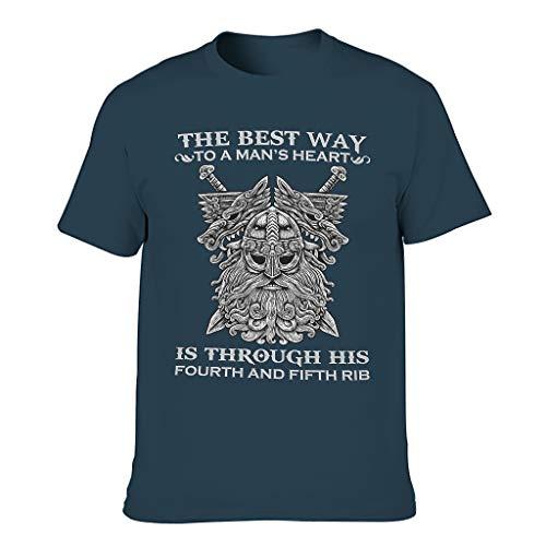 Viking Der Beste Weg ins Herz eines Mannes Männer T-ShirtsKurze HülsenTee O-Neck Rundhals T-Shirt SpaßT-Stücke Navy XL