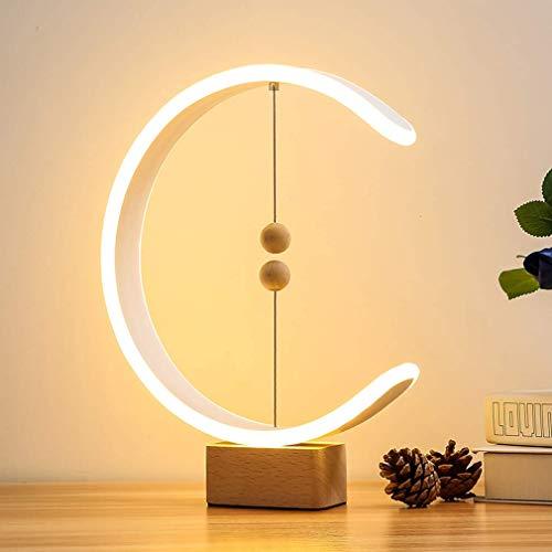 XIAOJUN Moderna Lampada da Tavolo in Legno, Lampada Bilancia Heng alimentata Tramite USB con Interruttore Magnetico a Sfere galleggianti, Luce LED Calda per la Cura degli Occhi