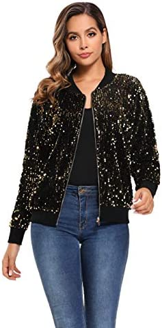 Women s Sequin Fitted Long Sleeve Zipper Blazer Bomber Jacket with Ribbed Cuffs Gold product image