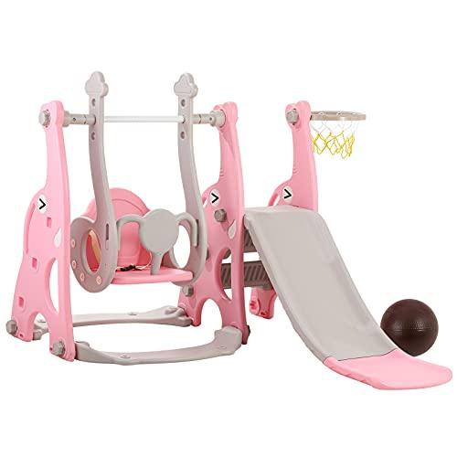 Juego de escalador y columpio 4 en 1, diapositiva extralarga, cinturón de seguridad, juego para niños con soporte de baloncesto, juego de tobogán de bebé para patio interior y exterior (rosa)