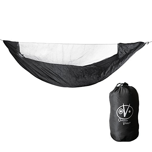 Outdoor Vitals Ultralight Hammock Bug Net with Underside and Side Splash Protecton (Black, 11 Foot)