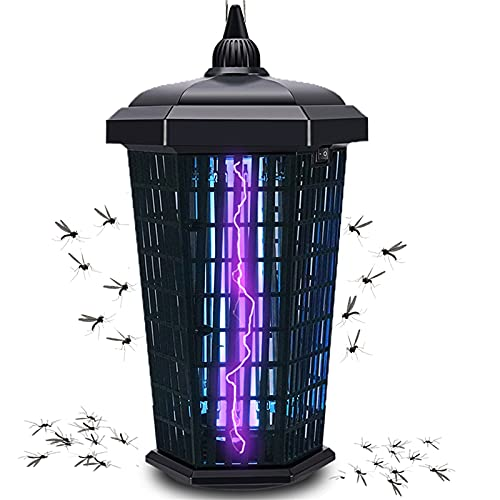 Bug Zapper Outdoor Mosquito Trap Fly Killer, 4200V Electric Insect Lamp Catcher 30W Powerful for Flies Waterproof, Dusk to Dawn Sensor Electronic Light Bulb for Garden, Patio Large,1 Acre, Plug in